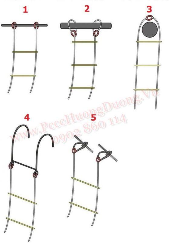 Cách dùng thang dây cứu hộ