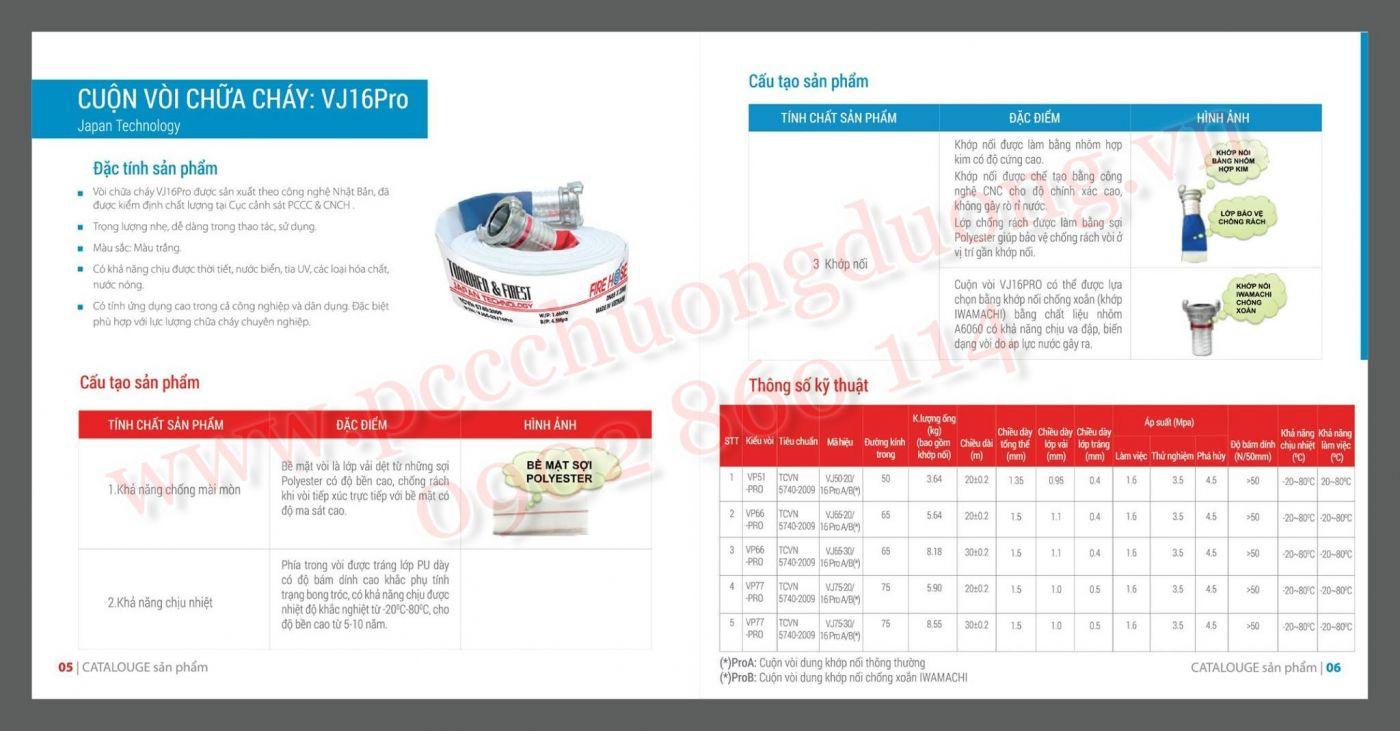 Cấu tạo và thông số kỹ thuật cuộn vòi chữa cháy Tomoken VJ16Pro